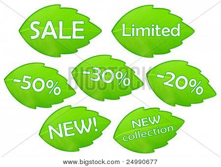 The words SALE NEW LIMITED on the green leaf