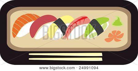Sushi set - vector illustration