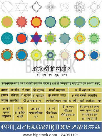 Set of vector elements to create yantras  for Meditation , including also Sri Yantra. Geometric figures,  alphabet (Sanskrit),  astrological symbols and some used the mantra meditation.