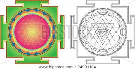 Vector Shri  Yantra (or Sri Yantra) for Meditation .  Color and contour image