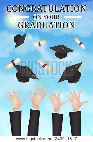 A Congratulations Graduation Hand Throw Hat Diploma