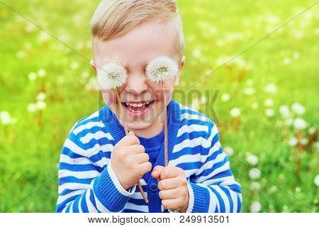 Happy Kid Laughing.close Up Portrait Joy Child.little Cute Boy Playful Smiling Holding Dandelions On