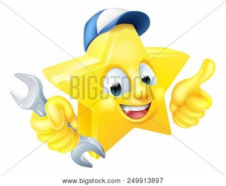Cartoon Star Plumber Or Mechanic Emoji Emoticon Mascot Character Holding A Spanner