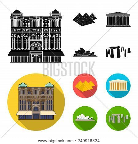 Sights Of Different Countries Black, Flat Icons In Set Collection For Design. Famous Building Vector