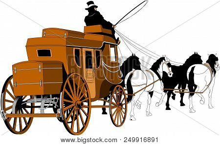 Illustration Of A Stagecoach Driver Riding A Carriage Driving Two Horses On Isolated White Backgroun