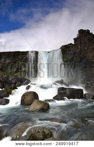 Oxarafoss Waterfall In Thingvellier National Park Iceland