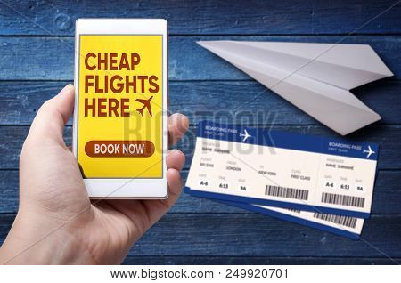 Cheap Airline Flights Online Mobile App. Imaginary Low Cost Carrier Application On Mobile Device. Bo
