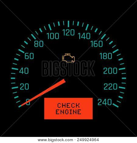Check Engine Light On Speedometer Display. Vector Illustration