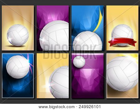 Volleyball Poster Set Vector. Empty Template For Design. Promotion. Volleyball Ball. Vertical Modern