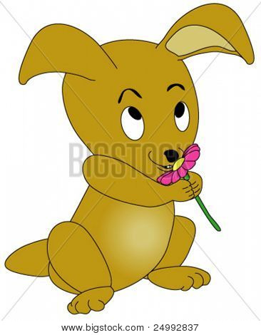 Vector Baby Rabbit Smelling Flower