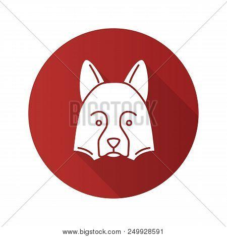 Shetland Sheepdog Flat Design Long Shadow Glyph Icon. Herding Dog. Vector Silhouette Illustration