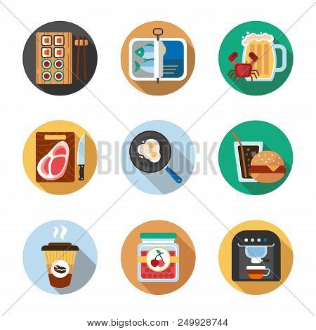 Food Flat Design Long Shadow Color Icons Set. Sushi, Sprats, Cutted Steak, Fried Eggs, Soda And Burg