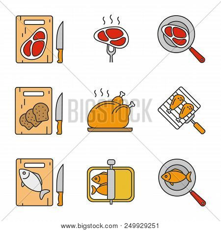 Food Preparation Color Icons Set. Cutting Boards With Bread, Meat And Fish, Frying Salmon And Meat S
