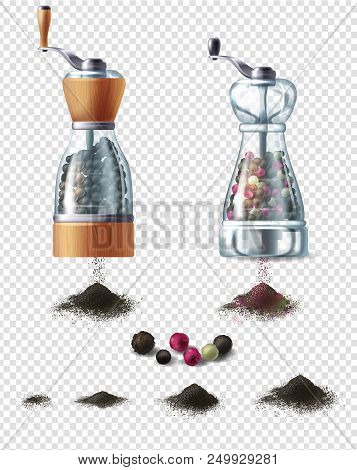 Vector Set Of Spice Mills With Handles And Handfuls Of Ground Black Pepper, Isolated On Background.