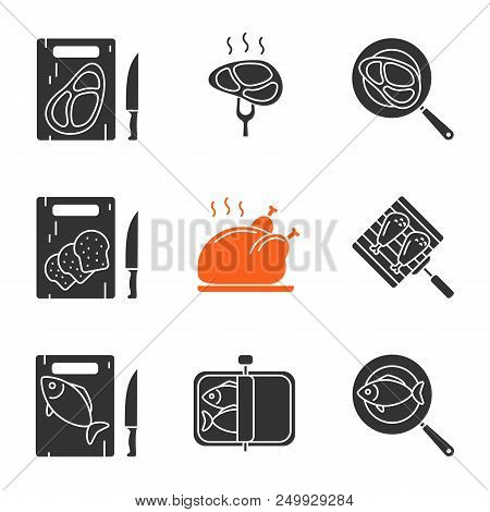 Food Preparation Glyph Icons Set. Cutting Boards With Bread, Meat And Fish, Frying Salmon And Meat S