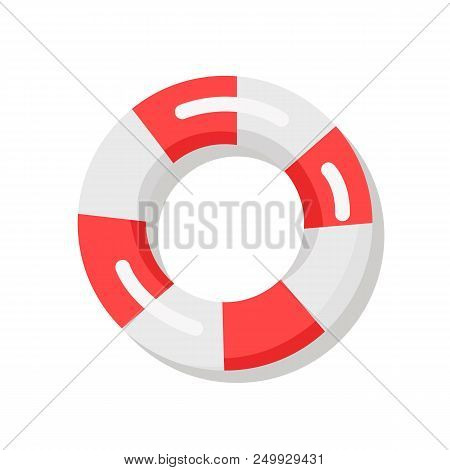 Banner Depicting Red-and-white Lifebuoy. Vector Illustration Of Life Preserver Used To Prevent Drown