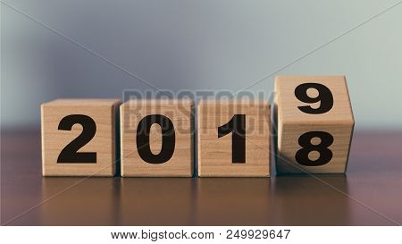 Happy New Year Concept Of Wooden Cubes