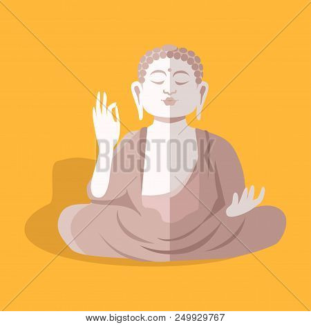 Magnificent Statue Of Sitting Buddha Shakyamuni In Taiwan Isolated On Yellow. Vector Illustration Of