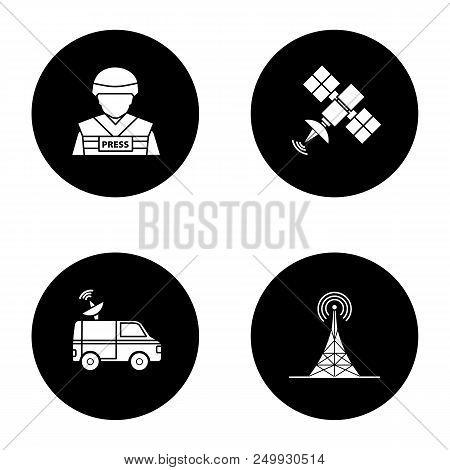 Mass media glyph icons set. Press. War correspondent, satellite signal, news van, radio tower. Vector white silhouettes illustrations in black circle poster