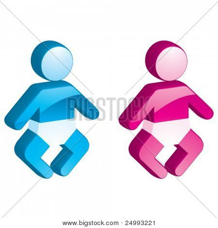 Vector Baby Boy & Girl - 3D Glossy Icon