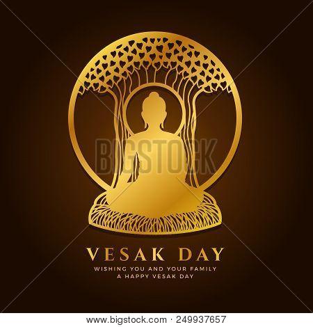 Vesak Day Banner With  Gold Buddha Meditate Under Bodhi Tree In Circle Frame Sign Vector Design
