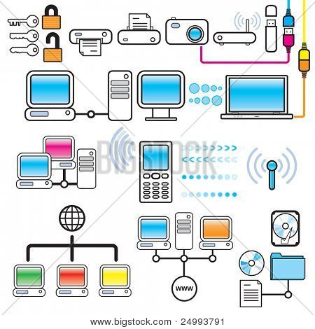 Networking, Connectivity & Technology Design Elements Set