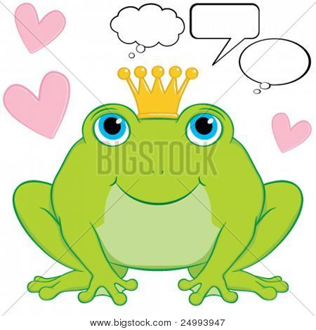 Vector cute frog prince cartoon character sitting wearing a crown.  Surrounding him are hearts to represent love is in the air.  Included are some speech and thought bubbles.  Gradient free.