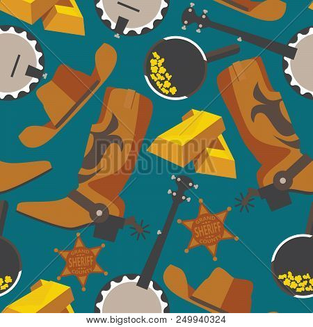 Wild West Objects For Gold Rush Or Cowboy In Seamless Pattern On Blue Background. Flat Wrangler Boot