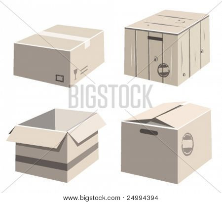 collection of vector paper boxes.