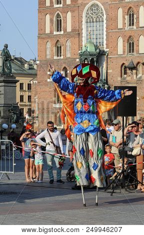 Cracow, Poland - July 5, 2018: Performance Of Dance Pageant Performed Bythe Kiev Street Theatre High