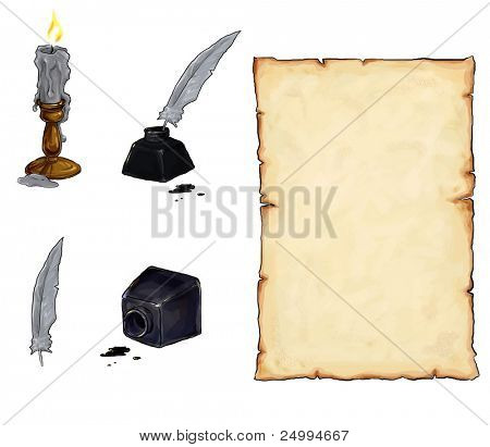 scroll, candle, incpot and feather
