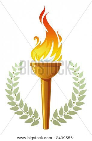 Burning torch in olive leaves