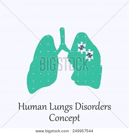 Human  Lungs Filled With Puzzle Pattern Few Of Whitch Unfit To The Whole. Conceptual Image Of Human
