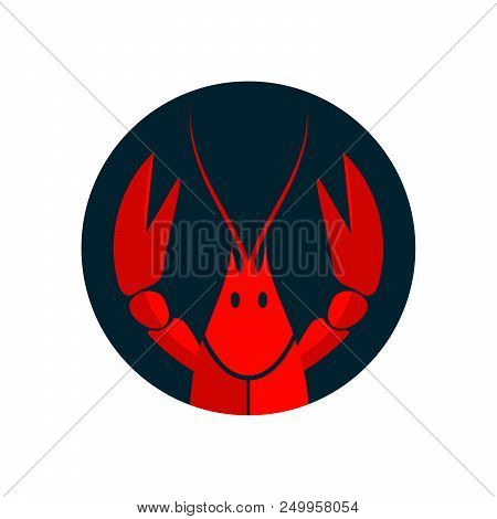 Crayfish logo. Red river lobster, langoustine or crustacean delicacies isolated on white background. Seafood design. Vector illustration poster