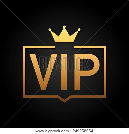 Golden Symbol Of Exclusivity, The Label Vip With Glitter. Very Important Person - Vip Icon On Dark B