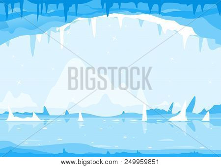 Ice Cave With Many Icicles On The Top And Ground, Cold Winter Ice Background, Mysterious Fairy-tale