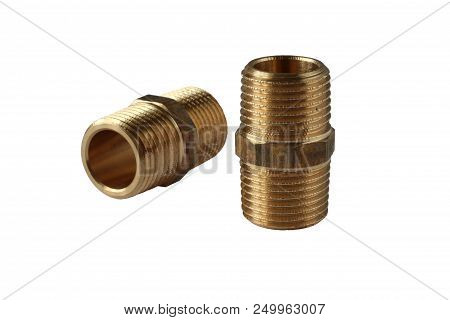 Hexagon Brass Threaded Nipples For Pipe, Isolated On White Background. Material - Nickel Plated Bras