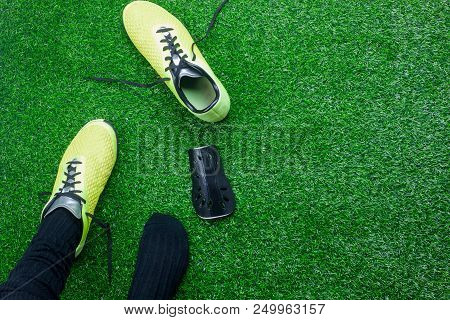 Table Top View Aerial Image Of Sign Of Soccer Or Football Season Background.flat Lay Accessories Clo