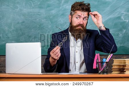 You Should Choose Proper Eyeglasses To Keep Good Vision. Teacher Bearded With Eyeglasses Care About