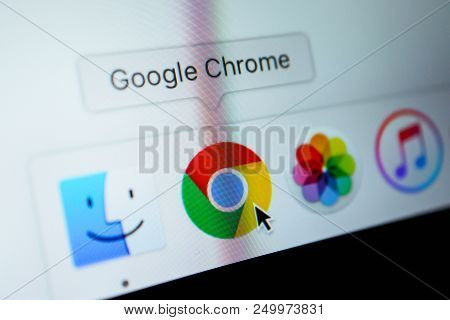 France, Paris - April 18, 2018:  Google Chrome Browser Application In A Dock On A Screen Of Macbook,
