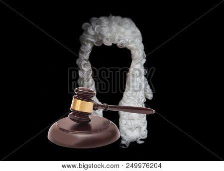 Judge Wig End Judge Gavel On Black Background