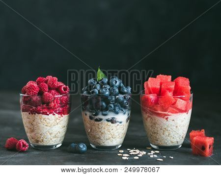 Healthy Breakfast: Overnight Oats With Fresh Fruits And Berries In Glass. Overnight Oatmeal Porridge