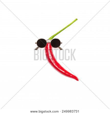 Dancing Red Chili Pepper In Sunglasses Isolated On White Background. Cool Guy, Party Goer Funny Mini