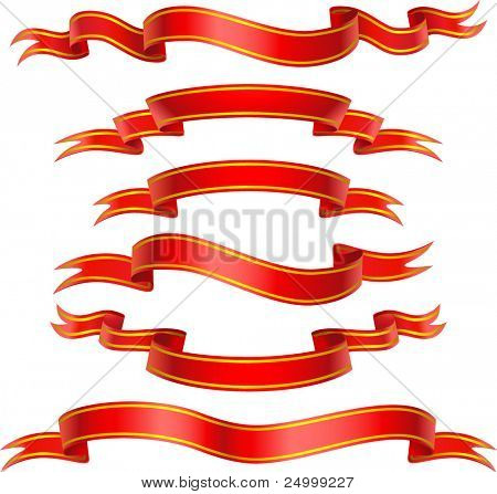 Red Banners with gold strokes. Vector illustration.
