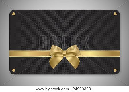 Gift Card (gift Card Discount), Gift Coupon With Golden Ribbon, Gold Bow And Black Pattern. Black Ba
