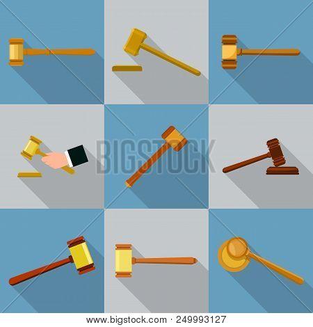 Judge Hammer Icons Set. Flat Illustration Of 9 Judge Hammer Vector Icons For Web