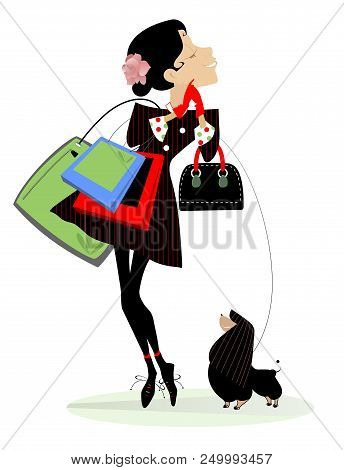 Young Woman, Shopping Bags And Dog Isolated Illustration. Smiling Young Women With Shopping Bags, Ha
