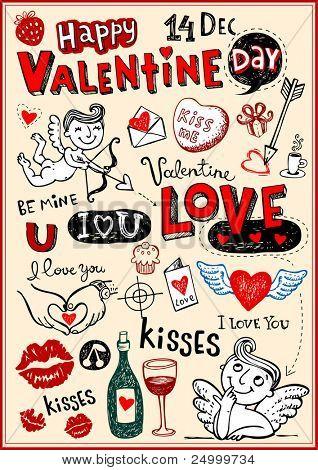 Vector valentine doodles set