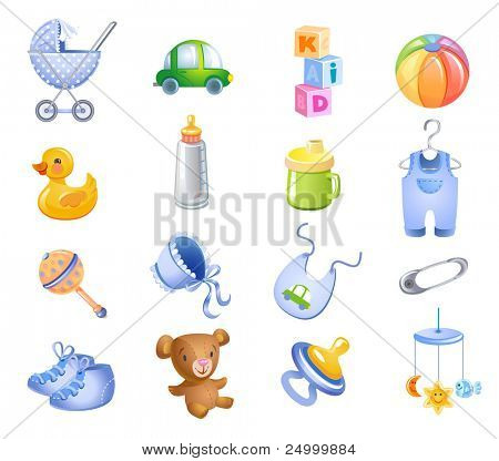 Set of toys and accessories for baby boy.