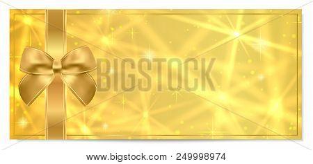 Golden Ticket, Gift Certificate / Gift Voucher Vector Template Design With Star Golden Background. U